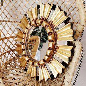 Mini Decorative Mirror Boho Gold Frame Peru